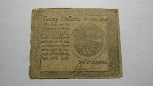 1778-20-Dollars-Pennsylvania-PA-Colonial-Continental-Currency-Bank-Note-Bill