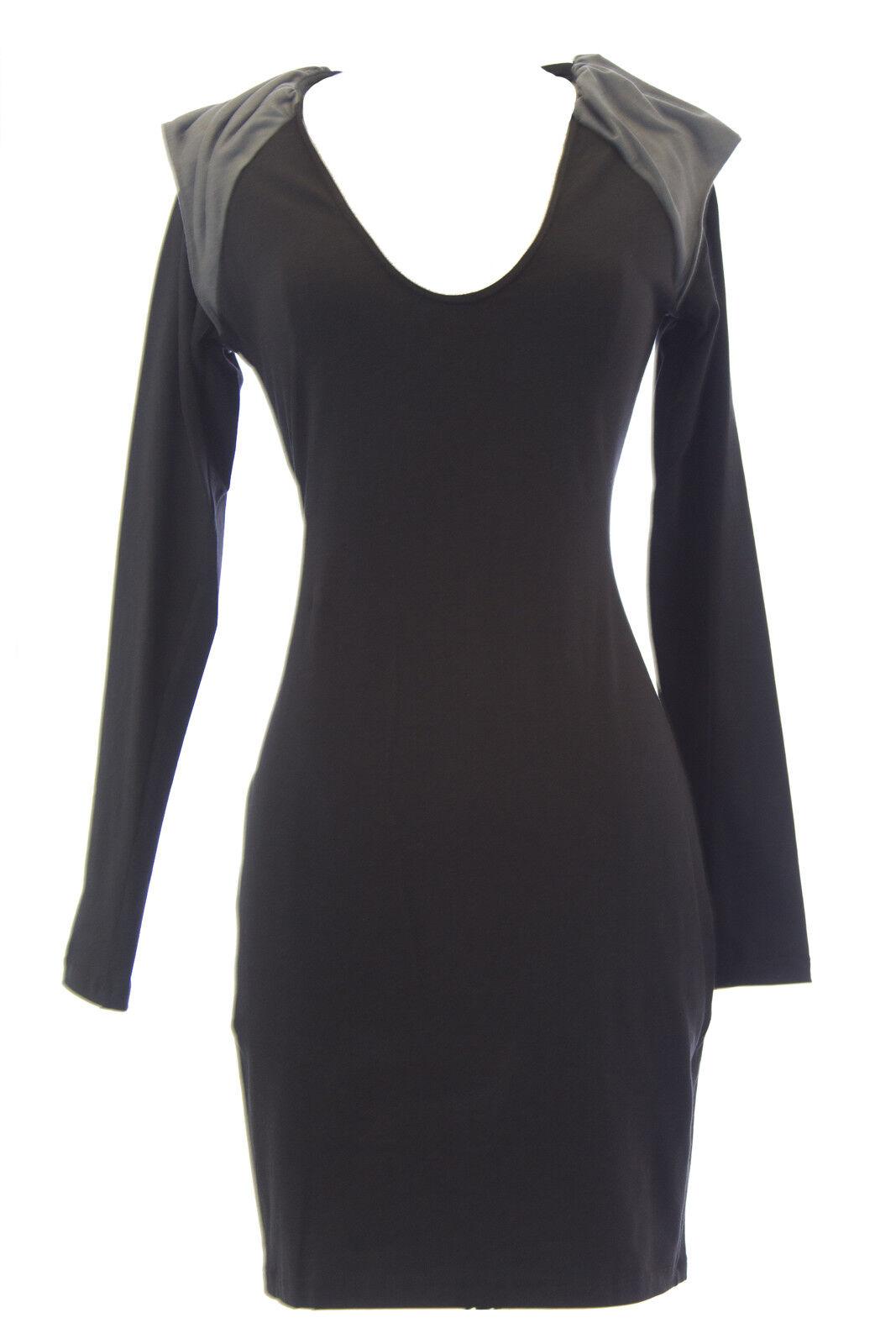 Vena Cava Damen Schwarz Pete Rock Langärmeliges Kleid 60801 Neu