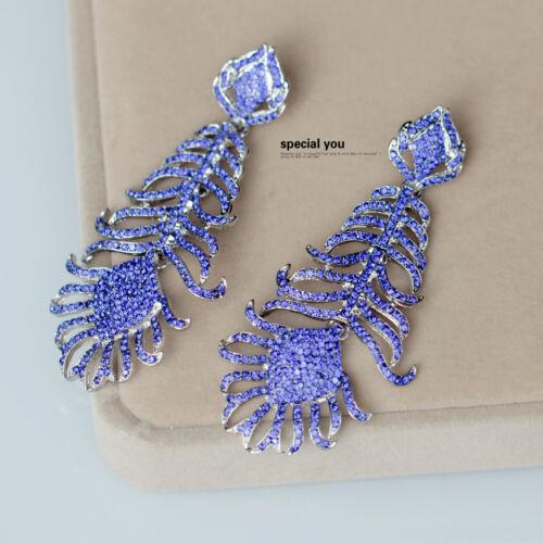 Boucles d`Oreilles Clips Pendant Argenté Filigrane Plume Fin Bleu Leger Retro J8