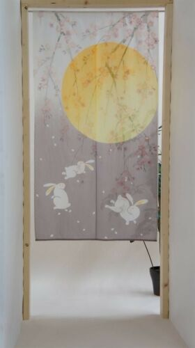 JAPANESE Noren Curtain NEW RABBIT MOON MADE IN JAPAN
