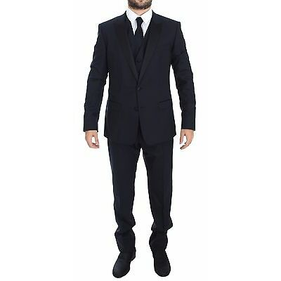 NWT $2200 DOLCE & GABBANA Blue Wool Silk 3 Piece Slim Suit Tuxedo EU44 /US34/XS