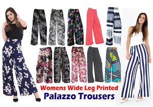 NEW LADIES FLORAL PRINT WIDE LEG PALAZZO PANTS 8-26