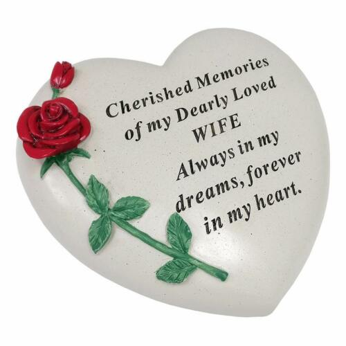 Large Wife Red Rose Heart Stone Graveside Memorial Scroll Ornament DF17405N