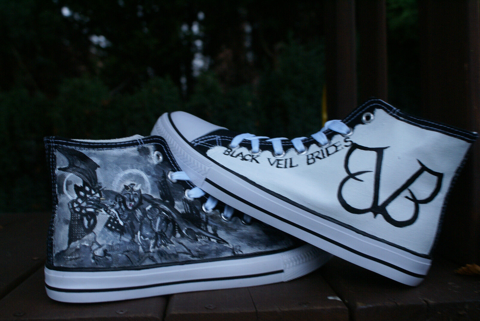 BLACK VEIL BRIDES inspiROTCUSTOM inspiROTCUSTOM BRIDES HAND PAINTED HIGH TOPS MADE TO ORDER 303ffd