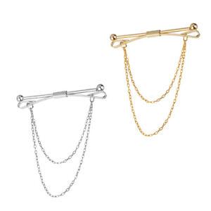 2pcs-Men-Gold-Silver-Slim-Collar-Pin-Chain-Brooch-Cravat-Tie-Clip-Clasp-Bar
