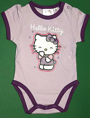 Nachdenklich Hello Kitty Kurzarmbody - Body Für Baby - Mädchen - Lila + Glitzer - Neu