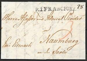 German-Reich-covers-1855-folded-letter-R-1-FRANCFORT-to-Naumburg