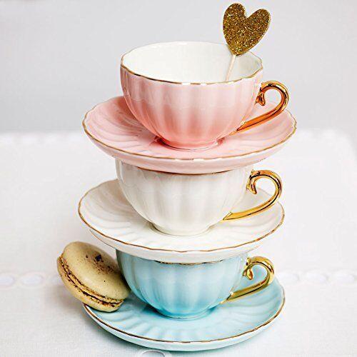 Bombay Duck - Belle, Tazza da tè e piattino, colore: Rosa pallido e Oro