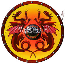 Hand-Painted Viking Double Dragon Shield --- sca/larp/gothic/norse/skyrim/armor