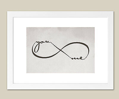 Infinity You & Me Grey Framed Print  - Wall Art Print - A3 size plus FREE frame