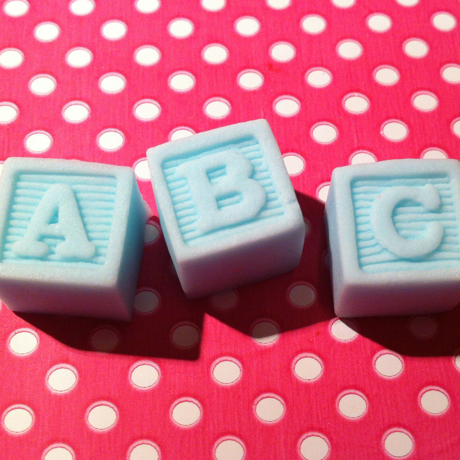 9 edible toy abc name blocks baby shower christening for Alphabet blocks cake decoration