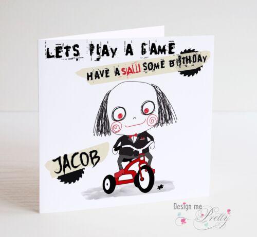 SAW BIRTHDAY CARD PERSONALISED JIGSAW HORROR