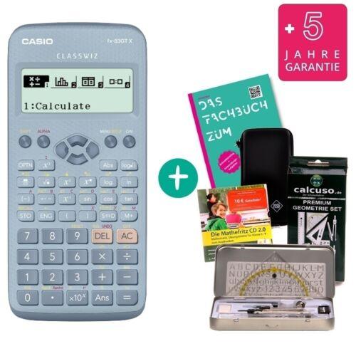 Garantie Fachbuch Casio FX-83GTX Blau Geometrie-Set Lern-CD Schutztasche