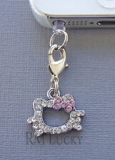 Crystal Hello Kitty cell phone Charm Anti Dust proof Plug ear cap iPhone C72