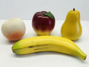 Vintage-4-Piece-Realistic-Hand-Finished-Ceramic-Fruits