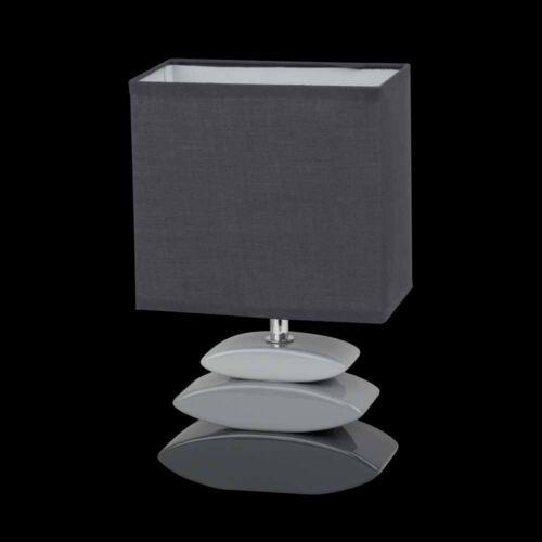 Nacht Tisch Leuchte Wohn Schlaf Zimmer Beleuchtung Lese Lampe Stoff Keramik grau