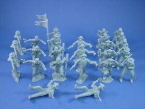 MARX-Alamo-Playset-Toy-Soldiers-45mm-Frontiersman-Cavalry-25-Gray-FREE-SHIP
