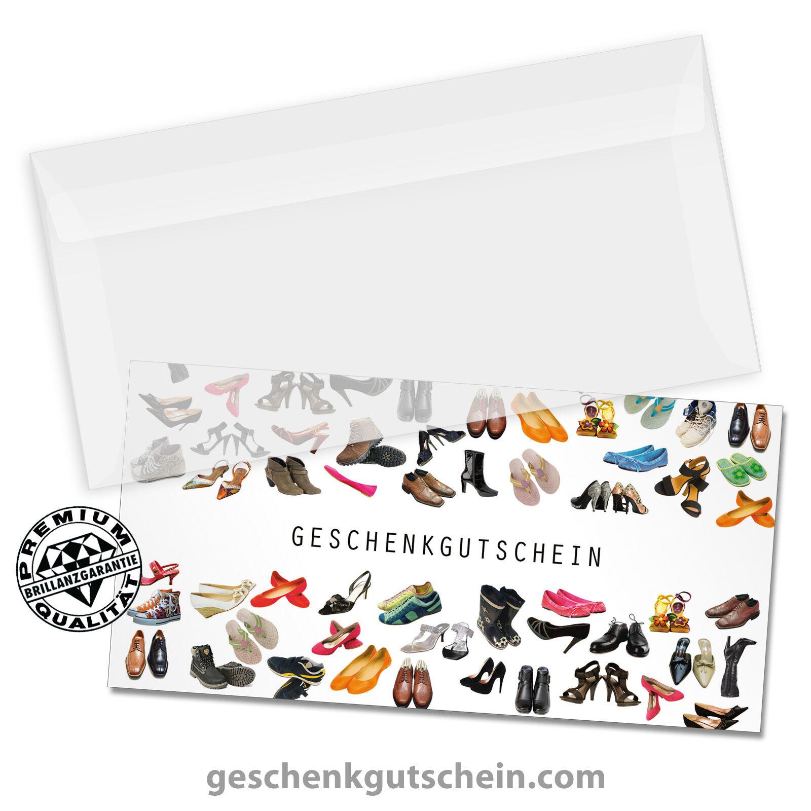 Gutscheinkarten  DINlang  mit KuGrüns für den Schuhfachhandel SH9230