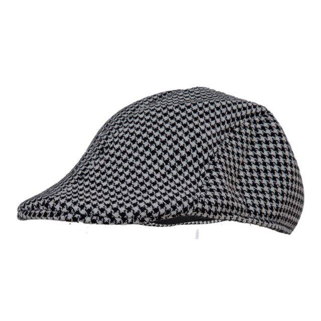 Mens Tweed Wool Herringbone Flat Cap Peak Hat with Quilted Lining - Black  ... cd007b918ce