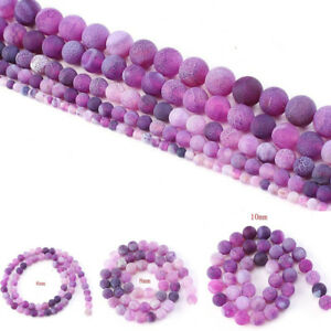 Natural-Stone-Agate-Frosted-Crab-Purple-Round-Loose-Beads-6-8-10-mm-For-Jewelry
