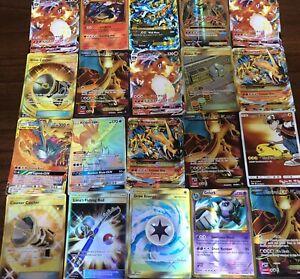 Pokemon-Tarjeta-Lote-de-10-tarjetas-de-juego-oficial-Trading-Card-un-ultra-raro-incluido-Gx-ex-MEGA