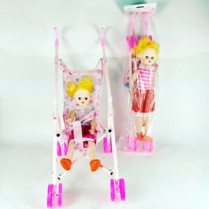 DOLL-BUGGY-Pram-Pushchair-Stroller-Toy-Baby-Kids-Girl-Birthday-Party-Gift-Lizzj