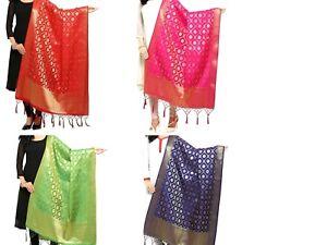 Dupatta-Banarasi-Silk-Stole-Indian-Art-Women-Scarf-Ethnic-Wrap-Party-Wedding