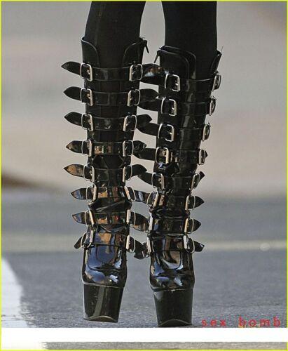 De 18 42 Talon Noir Glamour Bottes Sexy 36 Boucles Chaussures Brillant Plateau Zip 5qtETXwc