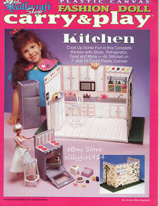 Kitchen Plastic Canvas Pattern Book Only Carry Play Fits Barbie Fashion Doll Ebay