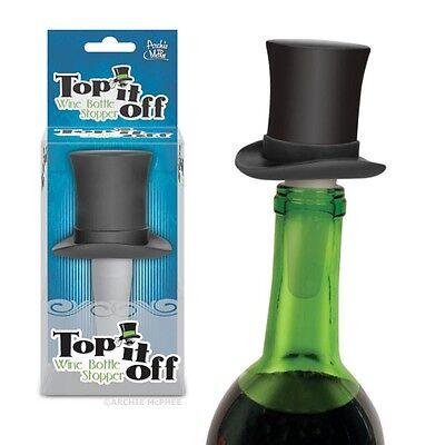Top Hat Bottle Topper Wine Cork Stopper Gag Gift Novelty Gentleman Stove Pipe