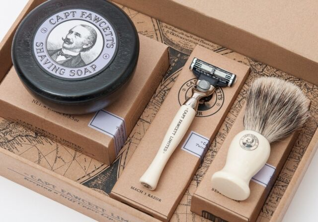 Captain Fawcett's Shaving Brush, Razor and Shaving Soap Gift Set