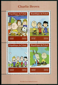 Chad-2019-CTO-Charlie-Brown-Peanuts-Snoopy-4v-M-S-Cartoons-Comics-Stamps