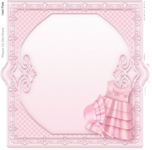 personalised card Beautiful Hand made New Baby Girl with gown and cot