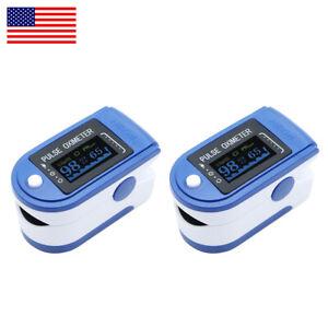 2X LED Finger Pulse Oximeter Blood Oxygen Meter SpO2 O2 Heart Rate Monitor