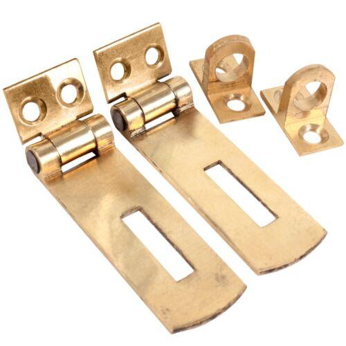 2 x qualité en laiton massif petit 50 mm Hasp /& Staple Porte Armoire Cabinet Sangle UK