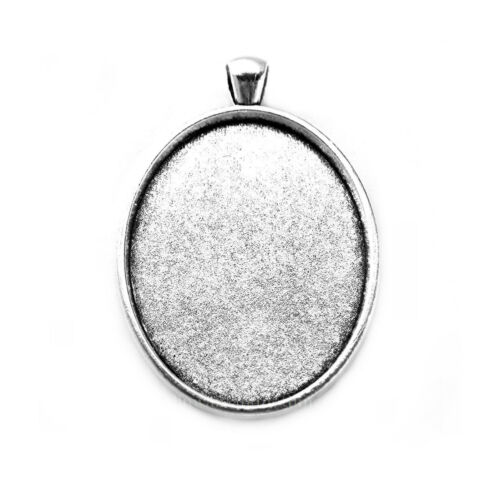 4 Ant Silvertone LOUISA style 40mm x 30mm CAMEO Costume PENDANTS Frame Setting