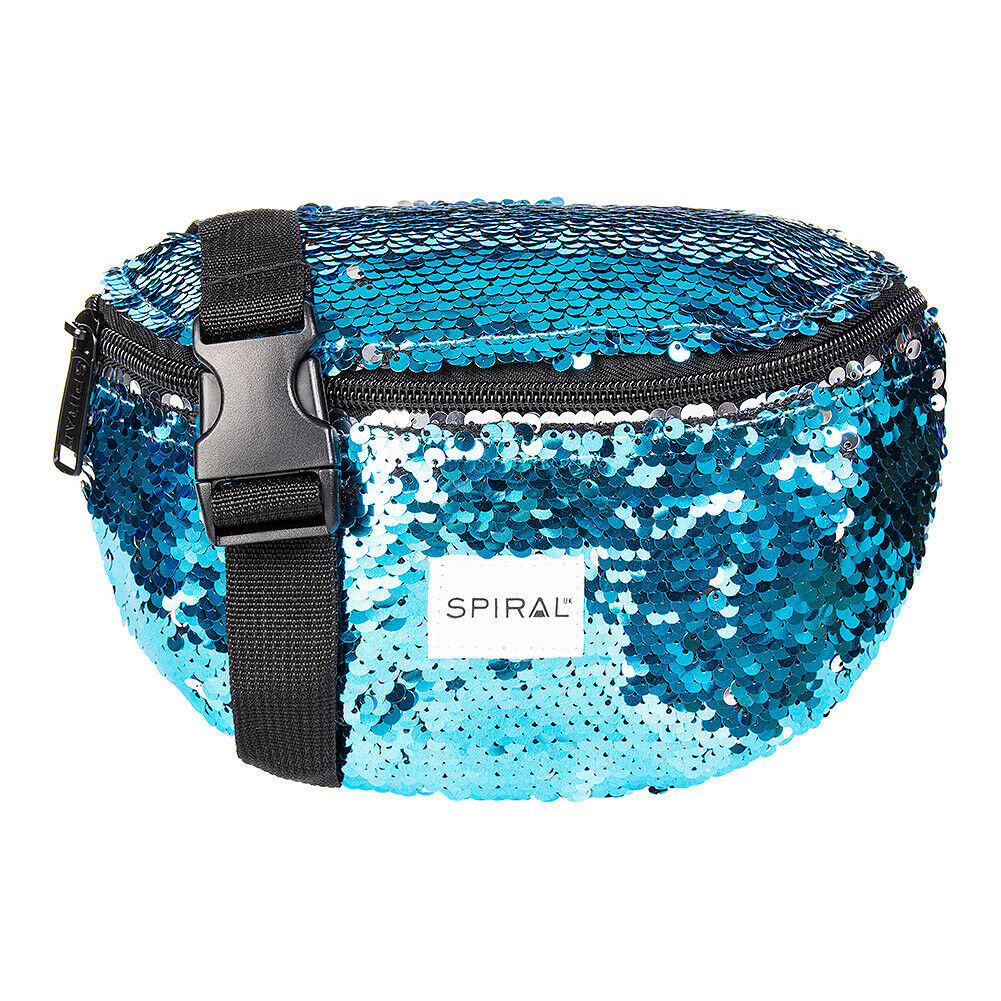 Spiral Blue Mermaid Sequins Summer holiday Festival Rave Bum Bag/Fanny Pack