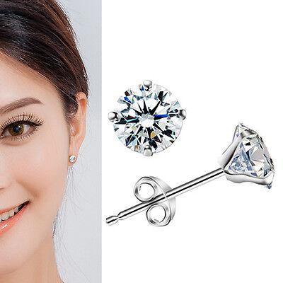 1Pair 925 Sterling Silver Crystal Ear Stud Earrings Women Lady Fashion