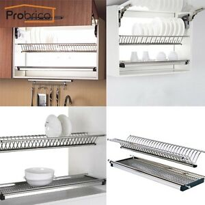 kitchen cabinet plate organizers stainless steel 2 tier dish drying rack for kitchen 19310