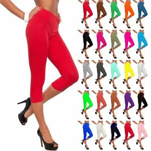 Femme Plaine Leggings Pantalon Trois Quart Jersey Entraînement Femmes Gym Fitness-afficher Le Titre D'origine