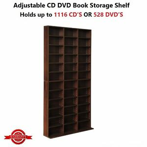 Adjustable-CD-DVD-Book-Storage-Rack-Shelf-Tower-528-DVD-039-s-or-1116-CD-039-s-Brown