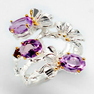 Handmade-Jewelry-Ring-Natural-Amethyst-7x5mm-925-Sterling-Silver-Ring-RVS96