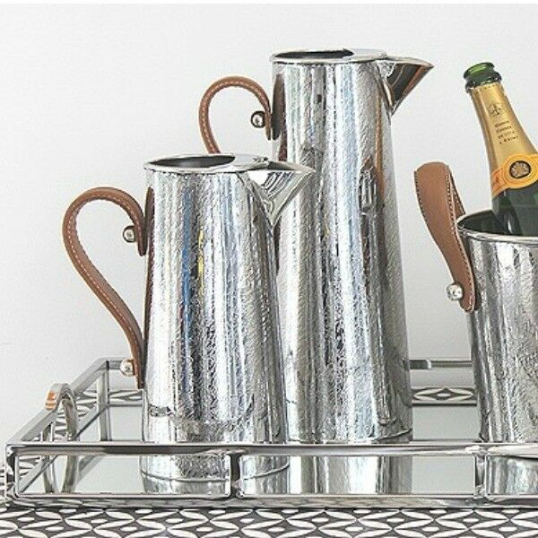Watermark Etch Stainless Steel Jug with leather handle - Large