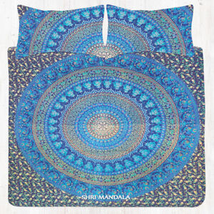 Indian Blue Elephant Mandala Tapestry Hippie Wall Hanging Queen Size Bed-Sheet
