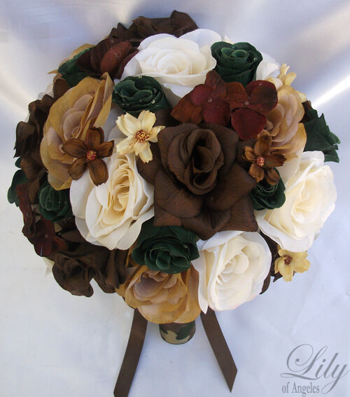 17pcs Wedding Bridal Bouquet Silk Flower CAMO Camouflage Bride IVORY braun CREAM