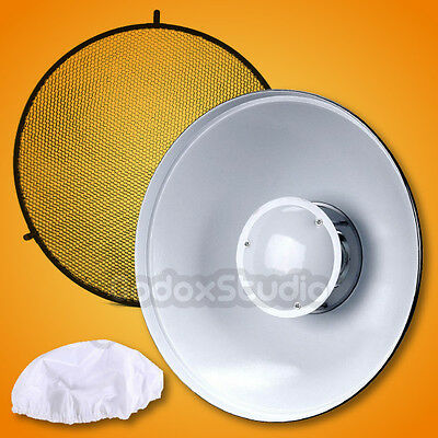 "55cm / 22"" Studio White Honeycomb Grid Beauty Dish Bowens Mount w/ Diffuser Sock"