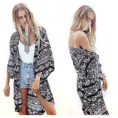 Women Blouse Printed Half Sleeve Casual Kimono Cardigan Tops Summer Loose Coat