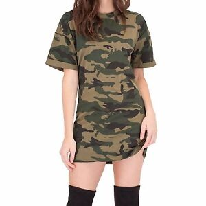0b4bd0ab309b Camouflage Womens Oversized T Shirt Dress Camo Print Mens Fit Choker ...