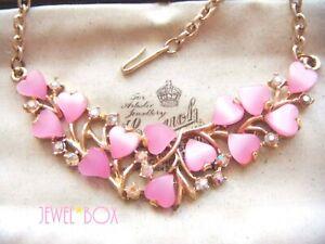 VINTAGE-Adorable-Pink-LOVE-HEARTS-Thermoset-Aurora-Borealis-Crystal-NECKLACE