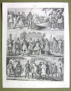 ANCIENT-TRIBES-Europe-Goths-Britons-Saxons-Huns-1844-SUPERB-Engraving-Print